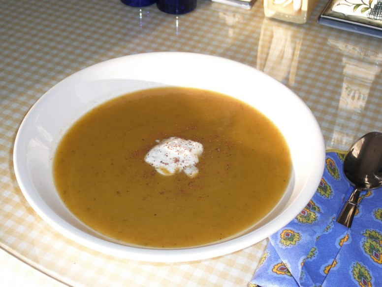 Bowl of butternut squash soup, created from Hazel Young's recipe!