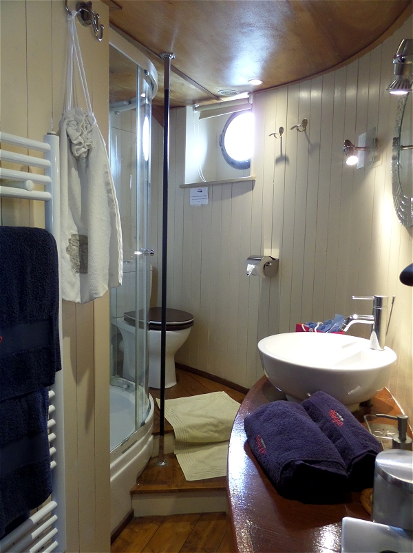 The ensuite bathroom for the Rive Droite cabin aboard the Alegria