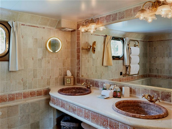 Each cabin aboard the Amaryllis has its own beautiful ensuite bathroom