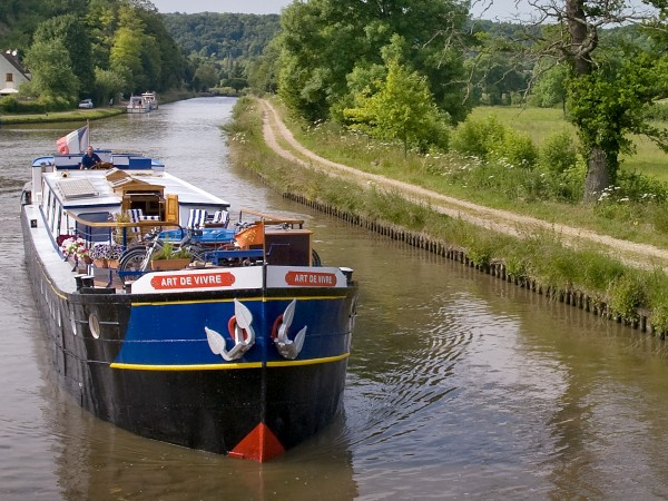 The 8-passenger First Class hotel barge L'Art de Vivre, cruising in Burgundy<br> on the beautiful Canal du Nivernais