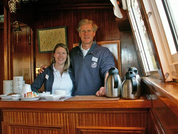 Athos' Owners, Julian and Dannielle.  Captain Julian welcomes you on board.