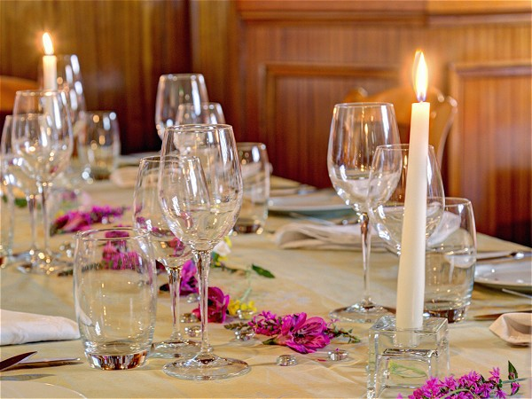 An elegant table setting for dinner aboard the Athos