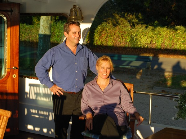 Deborah and Olivier, your hosts and owners of the C'est la Vie will welcome you aboard