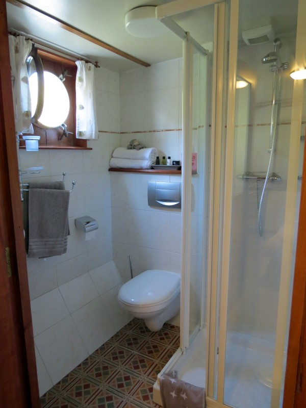 Each cabin aboard the Clair de Lune has its own comfortable and updated ensuite bathroom