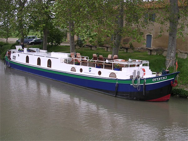 The hotel barge Emma moored in her home port