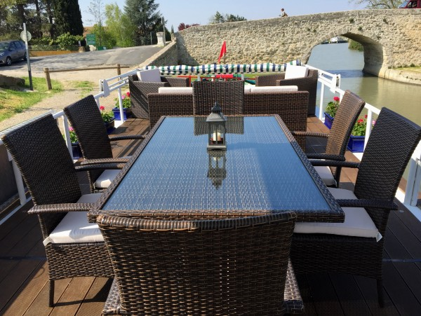The sundeck aboard the Emma is perfect for alfresco dining or enjoying the French countryside