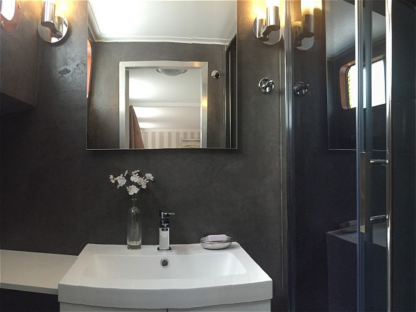 The newly renovated stylish bathrooms in the forward cabins
