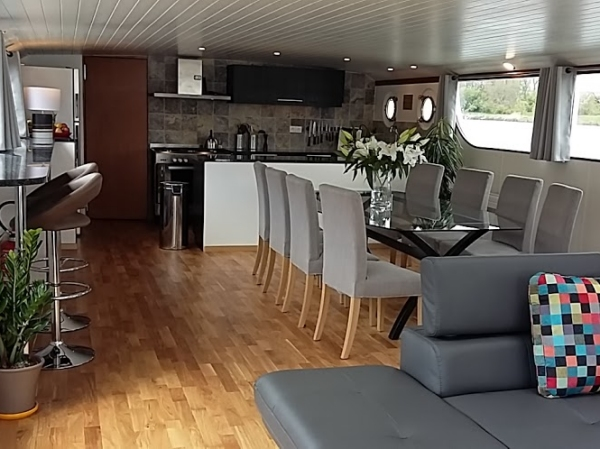 The open galley and elegant dining area on the Finesse.