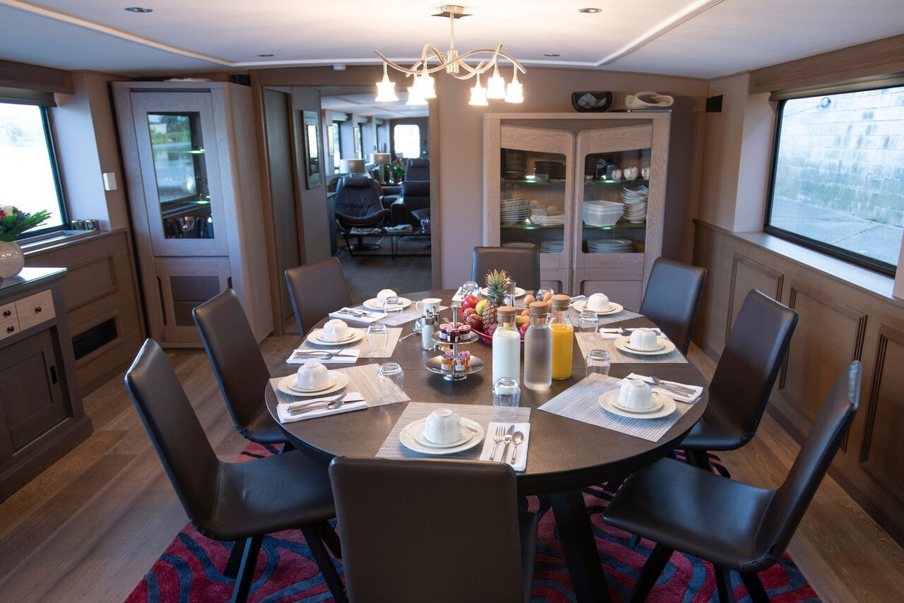 The spacious dining room aboard the Grand Cru