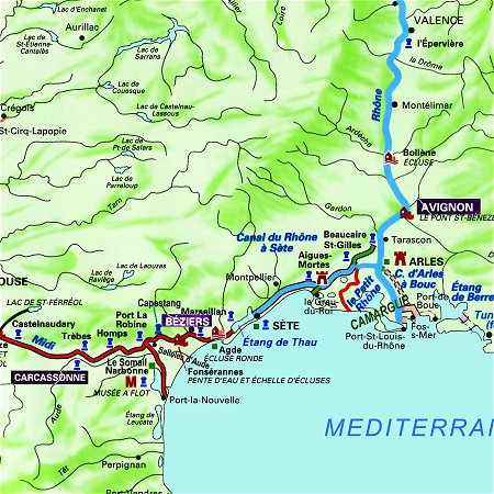 The Roi Soleil's routes through Provence, from Avignon to Beziers and on the Canal du Midi, from Beziers to Carcassonne.