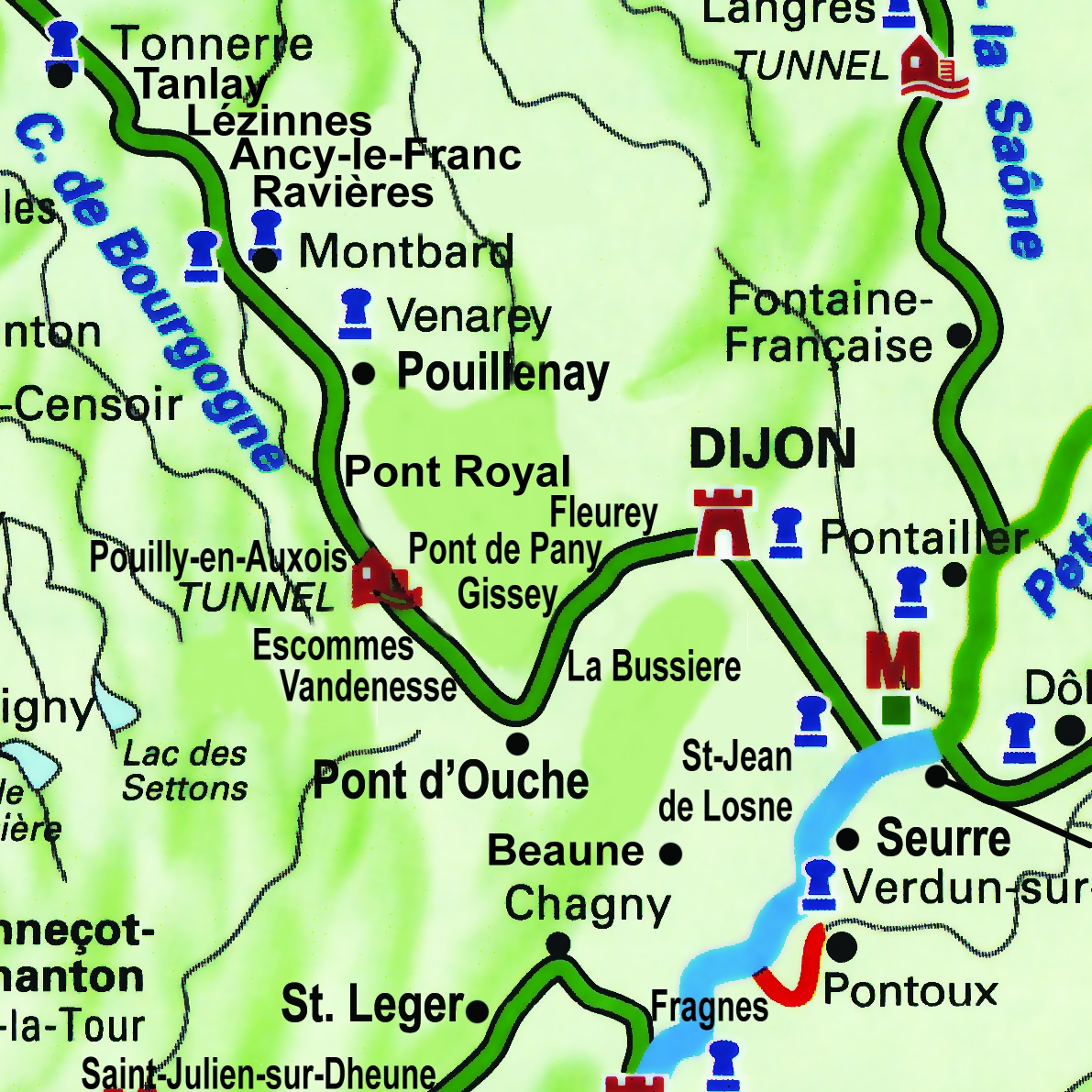 Apres Tout's route through Southern Burgundy, from St. Jean de Losne to Pont D''Ouche on the Canal de Bourgogne.
