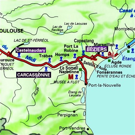 The Mirage's route through the south of France, from Carcassonne to Castelnaudary on the Canal du Midi.
