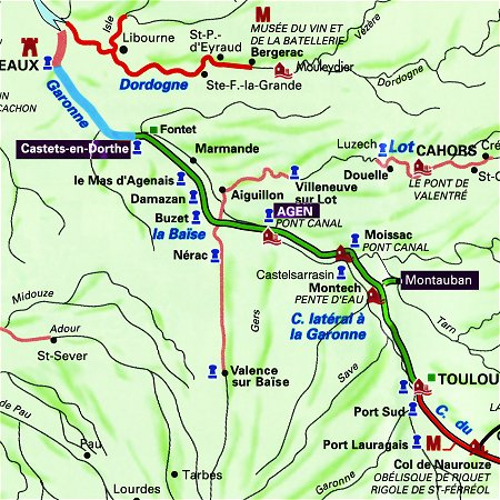 The Saint Louis' routes through Gascony and the Southwest of France, between Castets (Meilhan) and Agen (Boe), or Agen (Boe) and Montauban.
