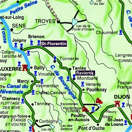 The C'Est La Vie's route through Burgundy, from St Florentin to Ravieres on the Canal de Bourgogne.