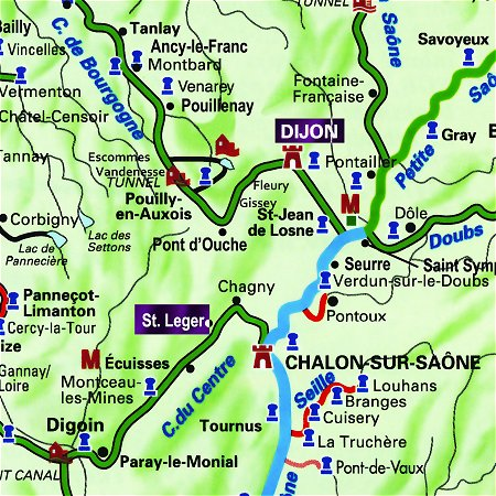 The Caprice's route through Central and Southern Burgundy, from Dijon to St Leger, along the Canal de Bourgogne, the Saone River and the Canal du Centre.