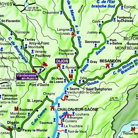 The Prosperite's routes through Southern Burgundy, from Dijon to Vandenesse-en-Auxois.