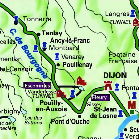 The L'Impressionniste's route through the Southern Burgundy, from Escommes to Fleurey sur Ouche on the Canal de Bourgogne.