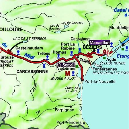 The Tango's route through the south of France, from Le Somail to Marseillan on the Canal du Midi.