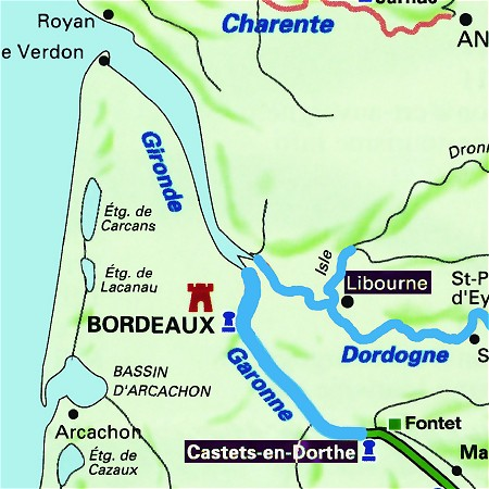 The Tango's route in the Bordeaux of France, along the Garonne and Dordogne Rivers.