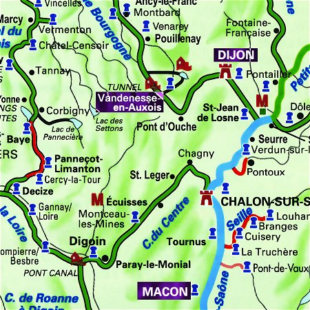The Saroche's routes through Southern Burgundy, from Macon to Dijon and from Dijon to Vandenesse-en-Auxois.