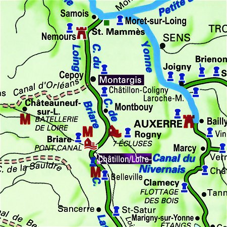 The Horizon II's routes through the Upper Loire, from Montargis tp Chatillon-sur-Loire.