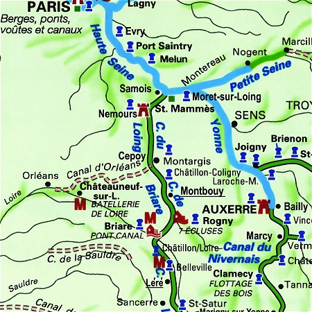 Hotel Barge Meanderer's cruise route, highlighting the southern Montbouy to Lere route on the Canal de Briare and the Canal Lateral a la Loire amd the alternate Samois sur Seine to Montargis route.