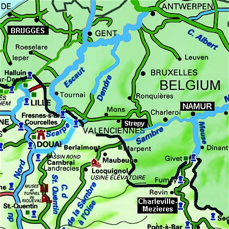 The MS Elisabeth's route through the Belgian Ardennes region, between Namur and Charleville-Mezieres, on the Meuse River.