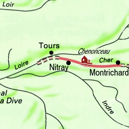The Nymphea's routes through the Loire Valley, from Nitray to Montrichard.
