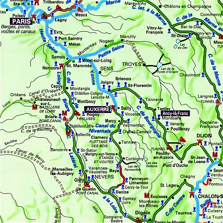 The Savoir Faire's routes through Burgundy, from Paris, to Auxerre to Ancy-le-Franc.