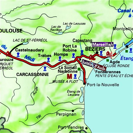 The Athos' route through the south of France, from Argeliers to Marseillan on the Canal du Midi.