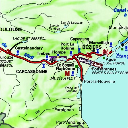 The Enchante's route through the south of France, from Salleles D'Aude to Puicheric on the Canal du Midi.