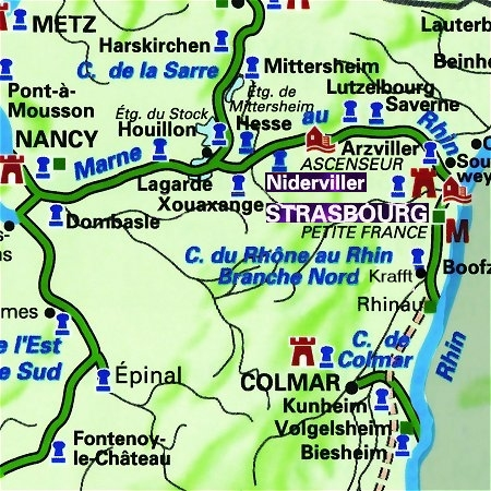 The Panache's route through the Alsace region, from Krafft to Niderviller, on the Canal de la Marne au Rhin.