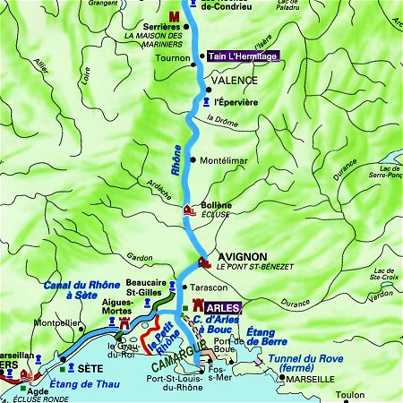 The Napoleon's route in Provence, from Tain L'Hermitage to Arles on the Rhone River.