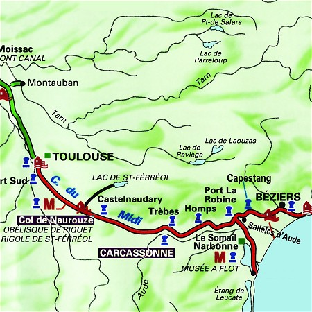 The Colibri's route through the south of France, from Carcassonne to Seuil de Naurouze on the Canal du Midi.