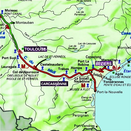 The Emma's route through the south of France, from Toulouse to Carcassonne and from Carcassonne to Beziers on the Canal du Midi.