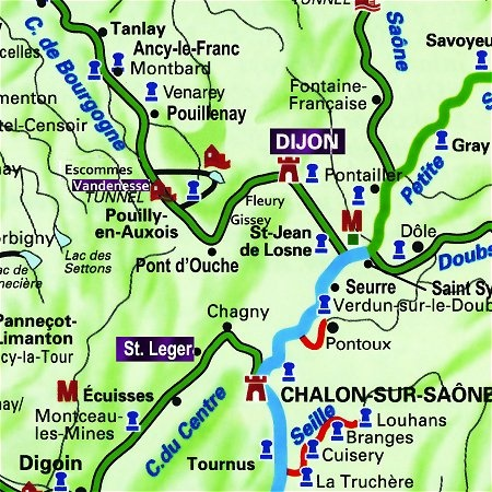The Fleur de Lys' routes through Southern Burgundy, from Vandenesse en Auxois to Dijon, on the Canal de Bourgogne, and from Dijon to St. Leger, on the Canal de Bourgogne, Saone River and the Canal du Centre