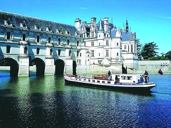 The First Class 6-passenger barge Nymphea is the only barge cruising<br> on the River Cher in the Loire Valley