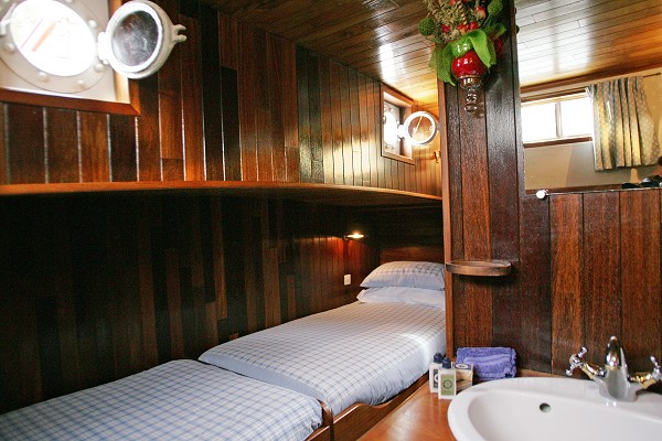 The cabins aboard the Nymphea offer either twin or double bed accommodations