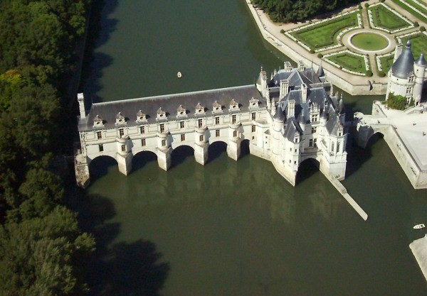 Chenonceau as seen from the air -- the visit to Chateau Chenonceau is one of the hightlights of the week aboard Nymphea.