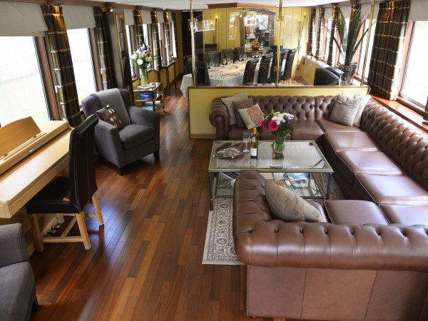 The large, comfortable salon aboard Panache offers relaxing seating for everyone