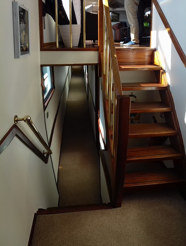 The stairway leading from the salon to the cabins
