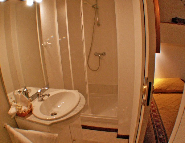 Each cabin aboard Le Phenicien has its own ensuite bathroom