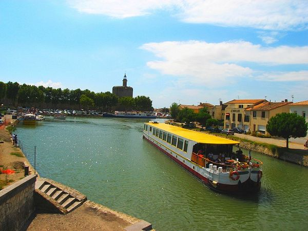 Le Phenicien Cruising the Canal du Rhone a Sete at Aigues-Mortes, in Provence.