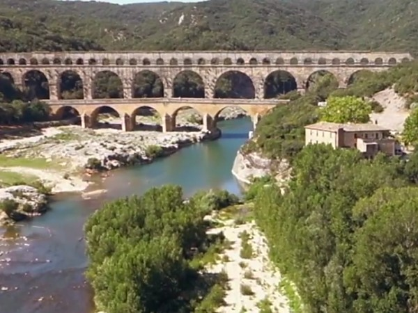 The ancient Roman aqueduct, Le Pont du Gard, built in 40-60AD,<br>is the highest and one of the best preserved.