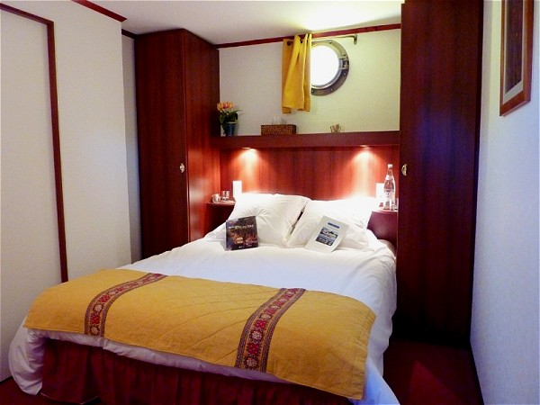 The cabins aboard Le Phenicien offer either queen or twin bed accommodations
