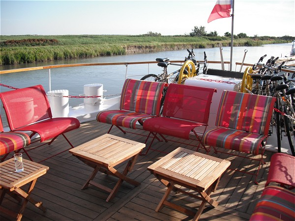 The sundeck aboard Le Phenicien is where you will enjoy beautiful passing scenery and glorious sunsets