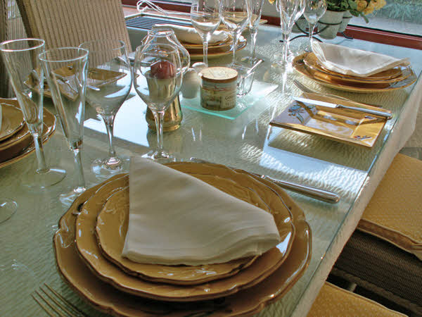 Le Phenicien's beautiful place settings, prepared for luncheon.