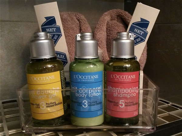 Deluxe L'Occitaine bath products are provided for your stay aboard the Rendez-vous.