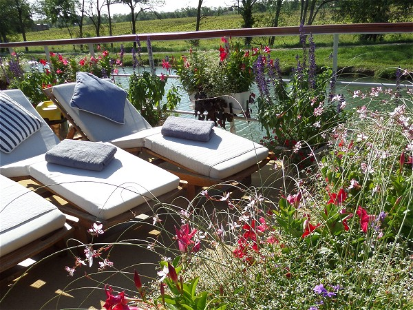 Sink into a relaxing chaise lounge and watch the French countryside drift by,<br>surrounded by a beautiful bouquet of aromatic flowers on Saint Louis