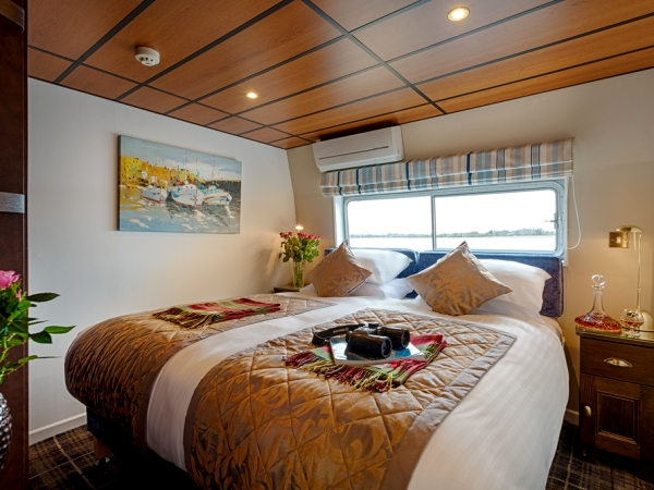 Each cabin aboard the Shannon Princess can be configured with a queen or two twin beds